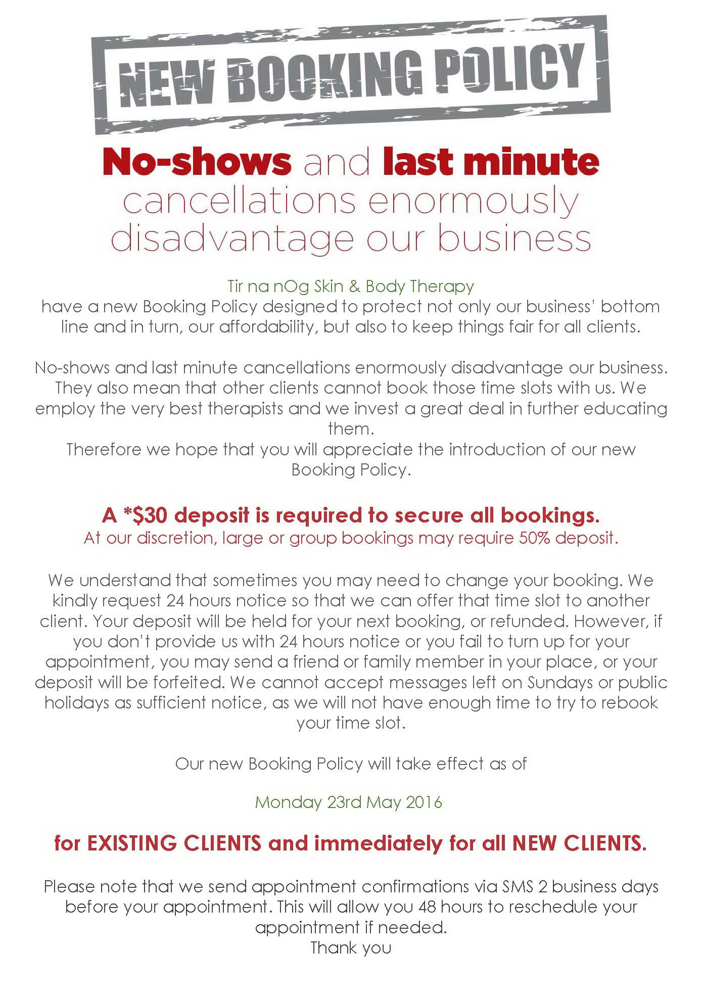 Tir na nOg Skin & Body Therapy Booking Policy-1